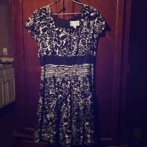 Black and White Floral-Design Dress